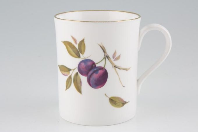 "Royal Worcester Evesham - Gold Edge Mug Plums and Peach - Peach on back 3 1/4 x 3 3/4"""