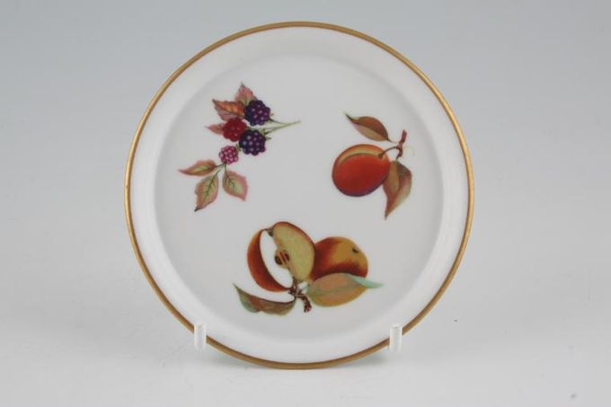 "Royal Worcester Evesham - Gold Edge Coaster Ceramic - Flat - Apple, plum, blackberry 4"""