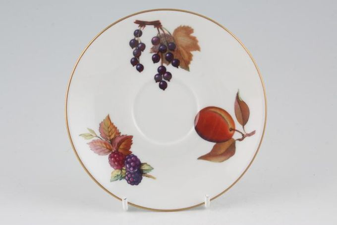 Royal Worcester Evesham - Gold Edge Coffee Saucer Raised Well / Blackcurrant, Plum, Blackberry 5 1/4""