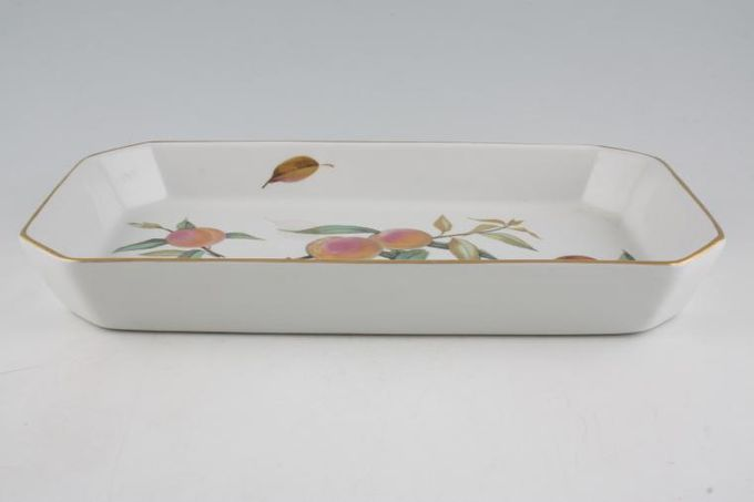"""Royal Worcester Evesham - Gold Edge Serving Dish Oblong, Peaches and Orange 14 1/8 x 8 1/4"""""""