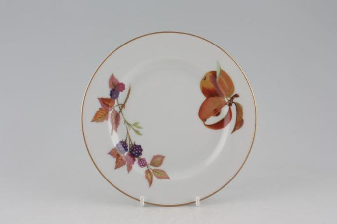 """Royal Worcester Evesham - Gold Edge Tea / Side / Bread & Butter Plate Cut Apple, Blackberry - Newer style with brown shaded apple and leaves. 6 5/8"""""""