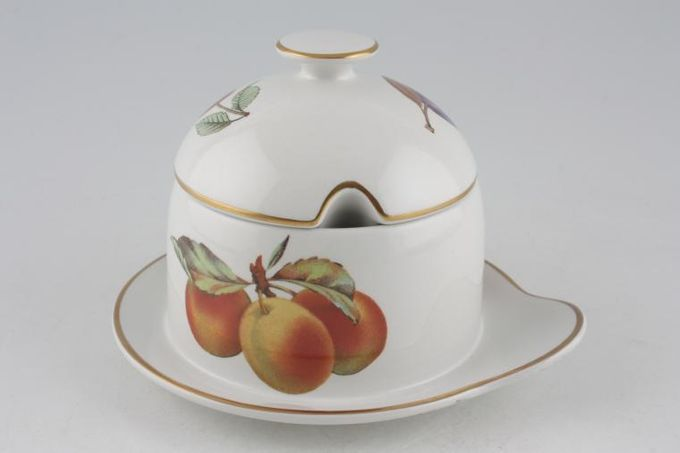 Royal Worcester Evesham - Gold Edge Honey Pot + Lid Grey background, Fixed Base