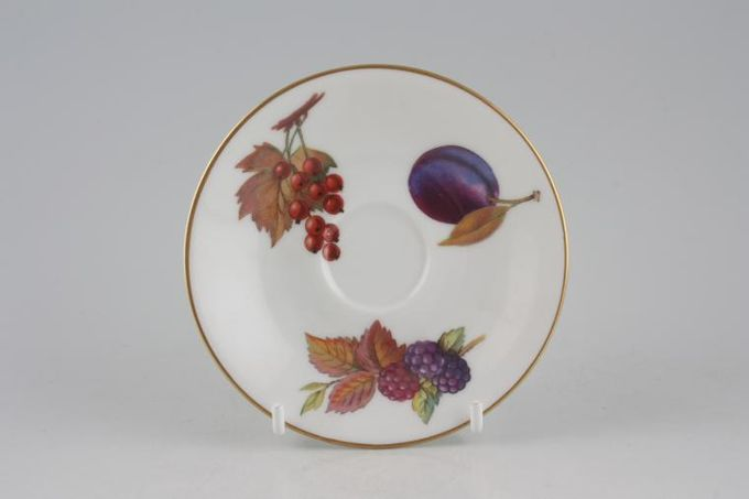 """Royal Worcester Evesham - Gold Edge Coffee Saucer 1 1/4"""" Well 4 3/8"""""""