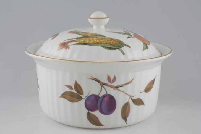 Royal Worcester Evesham - Gold Edge Casserole Dish + Lid Round, Fluted, No Handles 4pt