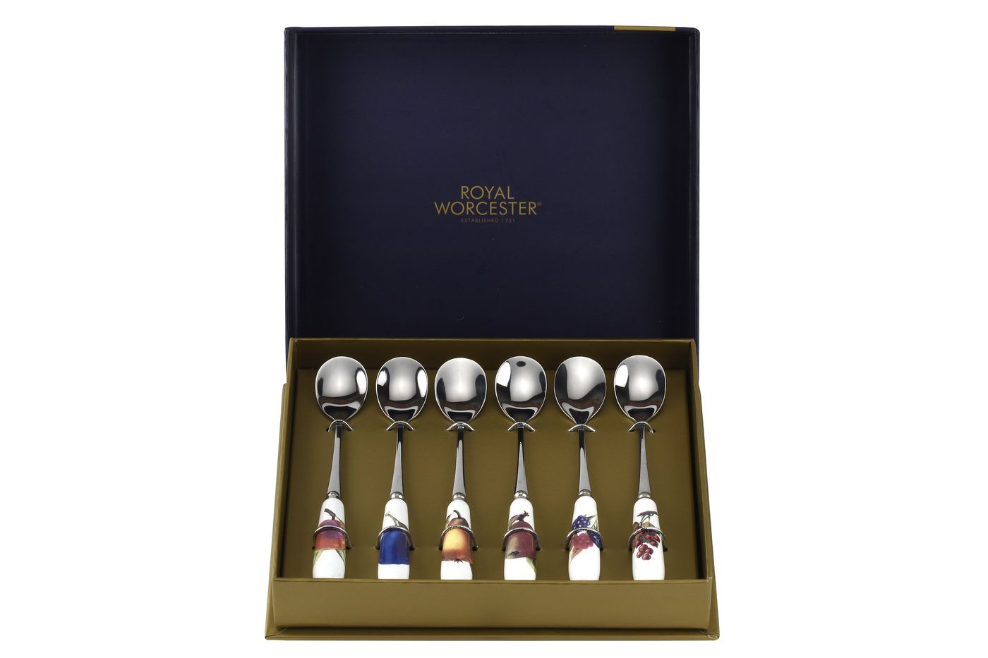 "Royal Worcester Evesham - Gold Edge Tea Spoon Set Set of 6 - Fruits on Handle 6"" thumb 2"