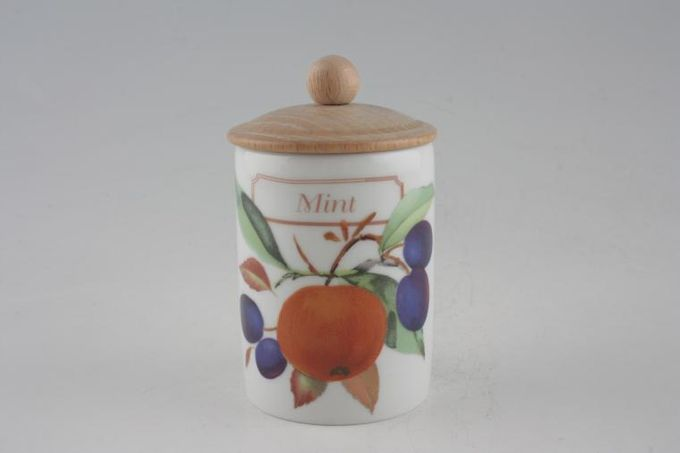 Royal Worcester Evesham - Gold Edge Spice Jar Mint - wooden lid with round knob 2 1/4 x 3""