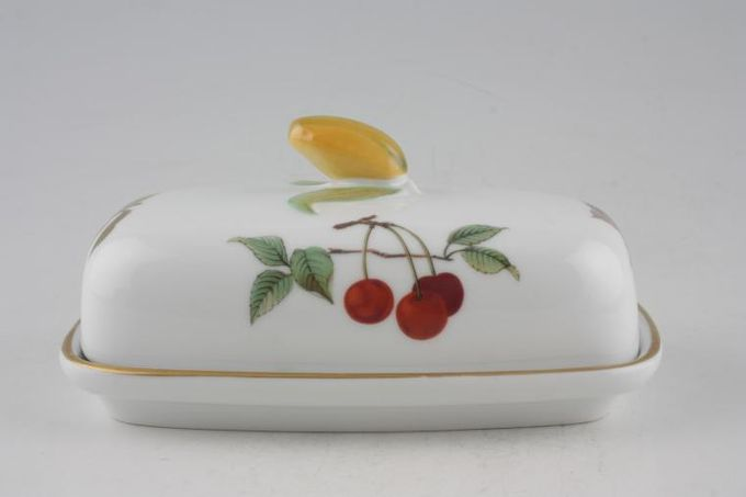 Royal Worcester Evesham - Gold Edge Butter Dish + Lid Oblong with fruit shape knob 6 1/4 x 3 1/2""