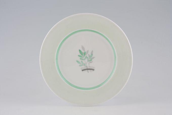 "Shelley Pale Green + Stylised Leaves - C12387 Tea / Side / Bread & Butter Plate 7"""