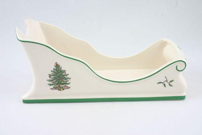 """Spode Christmas Tree Wine Bottle Holder Sleigh shaped 10 x 4 1/4"""""""