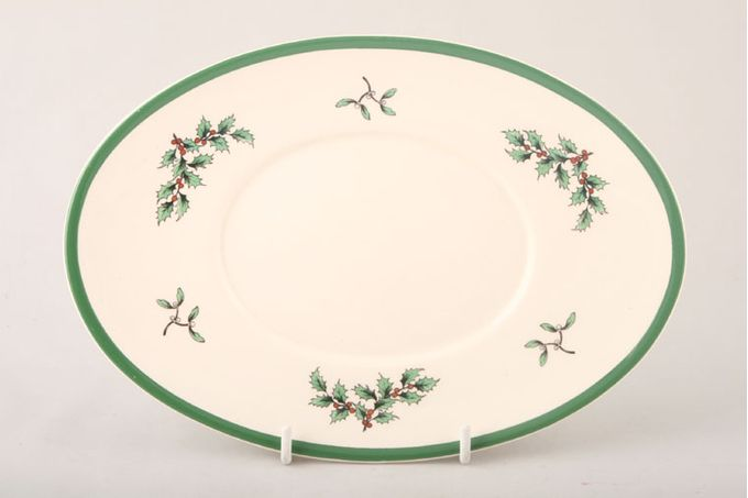 """Spode Christmas Tree Sauce Boat Stand Wider green band on the rim 9 3/8"""""""