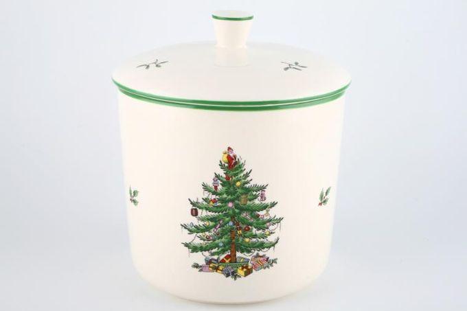 "Spode Christmas Tree Biscuit Jar + Lid 6 3/4 x 6 1/8"""