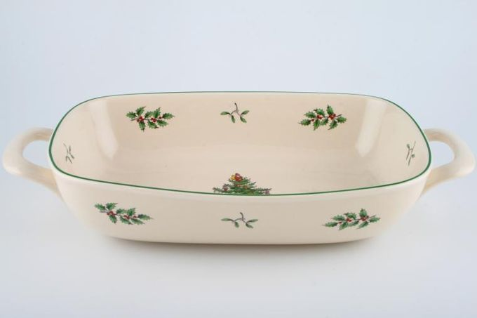 Spode Christmas Tree Bread Basket 2 handles 11 x 7 1/2""