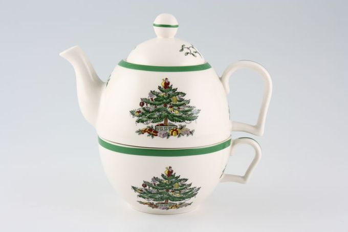 Spode Christmas Tree Teapot Tea for One - Teapot complete with breakfast cup set 1/2pt