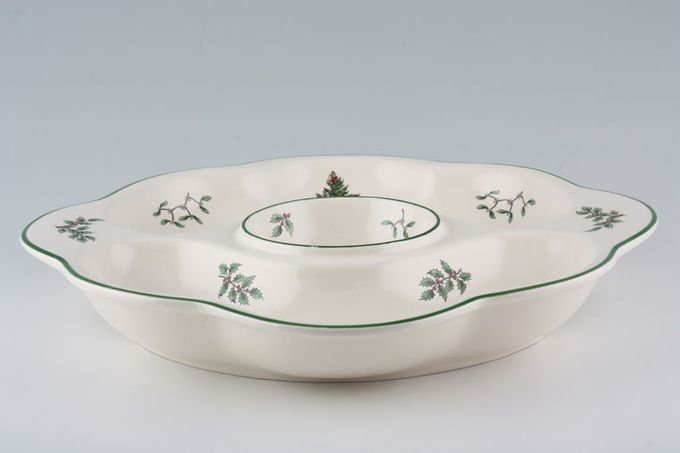 """Spode Christmas Tree Hor's d'oeuvres Dish round - 3 compartments 12 3/4"""""""