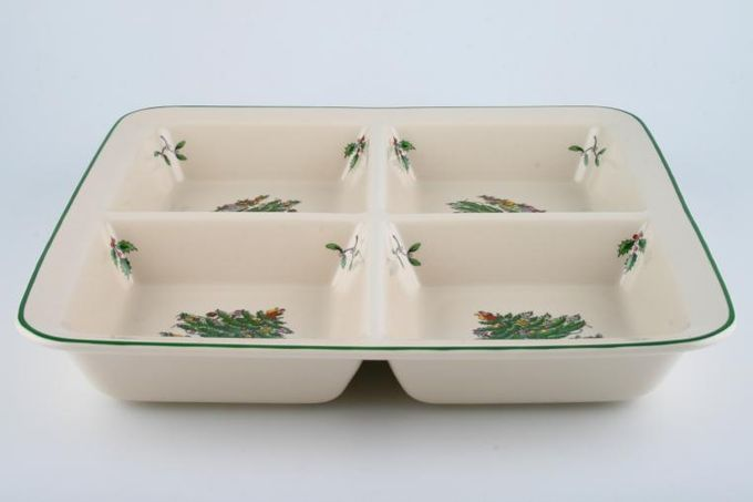 """Spode Christmas Tree Serving Dish Square, 4 Section Dish 11 3/4"""""""