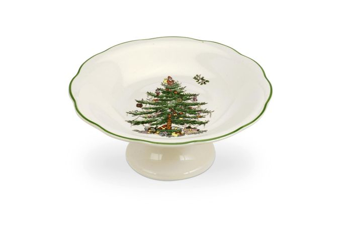 Spode Christmas Tree Serving Dish Sculpted Footed Candy Dish