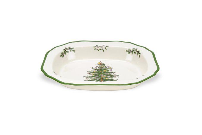 "Spode Christmas Tree Vegetable Dish (Open) 11 3/8"""