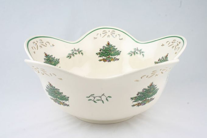 Spode Christmas Tree Serving Bowl pierced, punch bowl