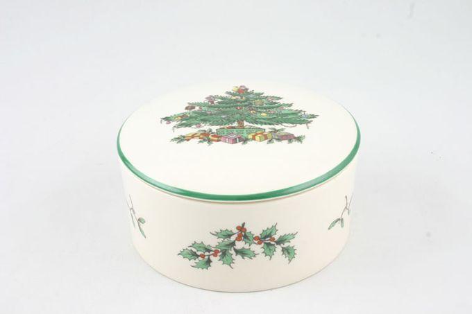 "Spode Christmas Tree Box lidded, round 4"""