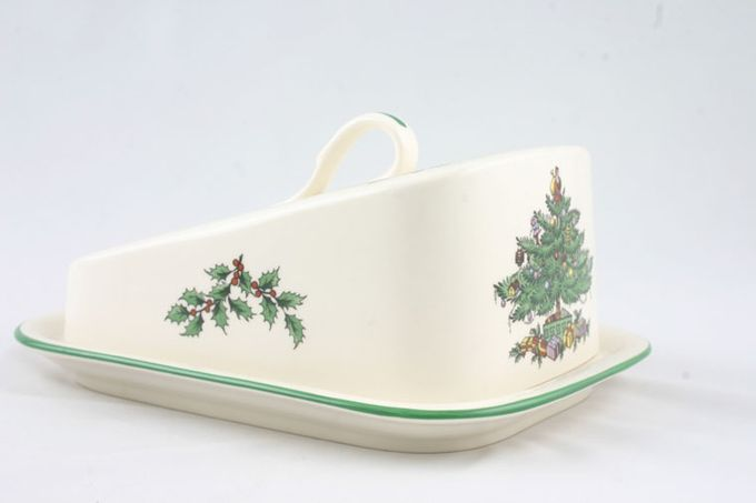 Spode Christmas Tree Cheese Dish + Lid wedge shaped lid