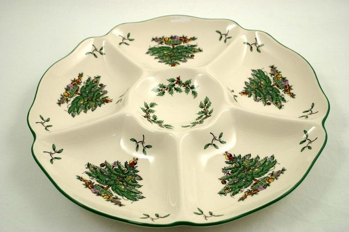 """Spode Christmas Tree Hor's d'oeuvres Dish round 11 1/2"""""""