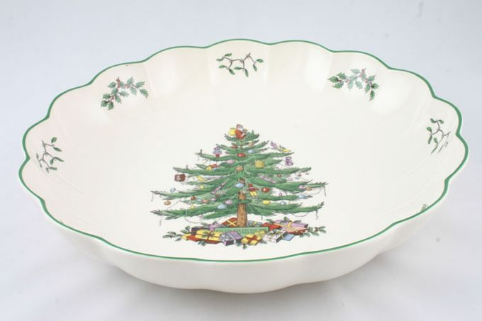 """Spode Christmas Tree Serving Bowl fluted, shallow 12 1/4"""""""