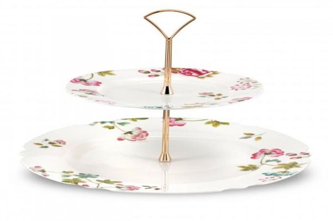 "Spode Sophia 2 Tier Cake Stand 11"" and 7 1/2"" plate"