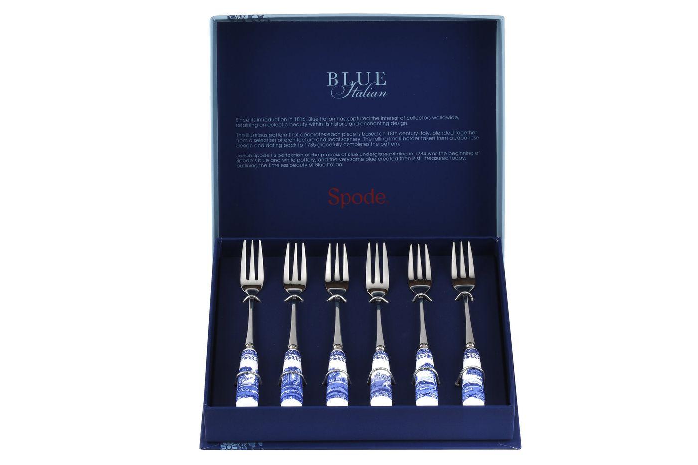 Spode Blue Italian Pastry Fork Set Set of 6 thumb 2