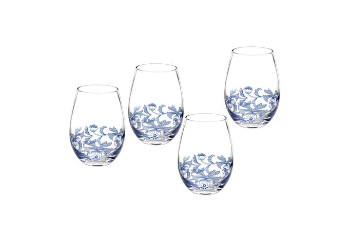 Spode Blue Italian Wine Glass Set of 4 Stemless Wine Glasses