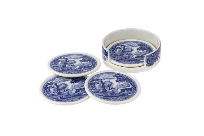Spode Blue Italian Ceramic Coasters with Holder Set of 4 coasters