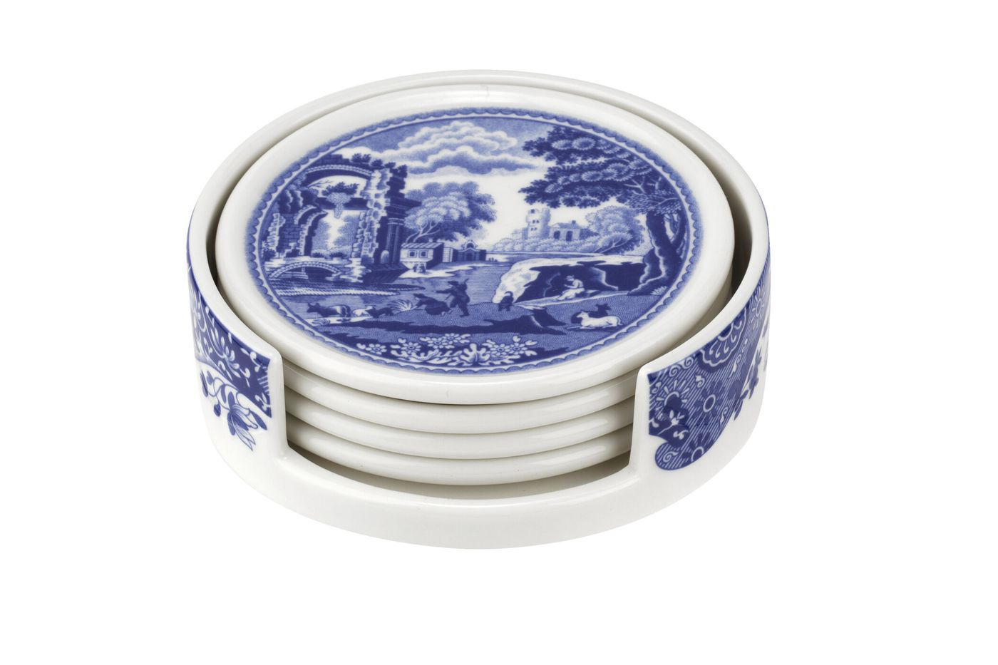 Spode Blue Italian Ceramic Coasters with Holder Set of 4 coasters thumb 2