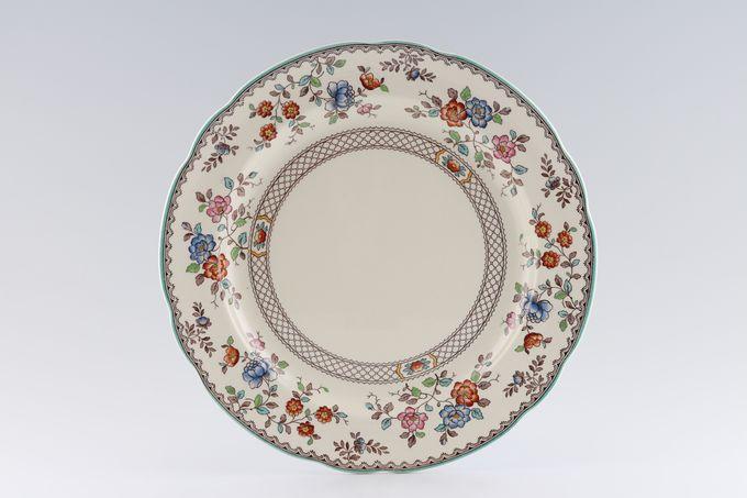 "Spode Audley Green Edge Royal Jasmine - Pottery Dinner Plate 10 1/2"""