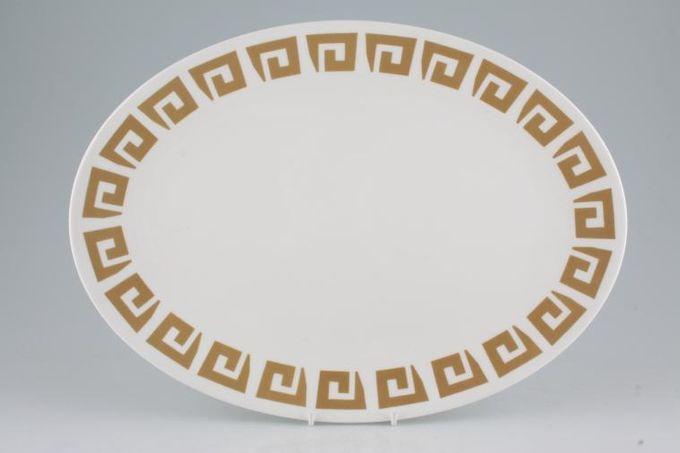 "Susie Cooper Keystone - Old Gold - Black Urn Oval Plate / Platter 14"""