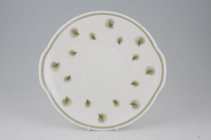 "Susie Cooper Whispering Grass - Green Cake Plate Round 9 7/8"""