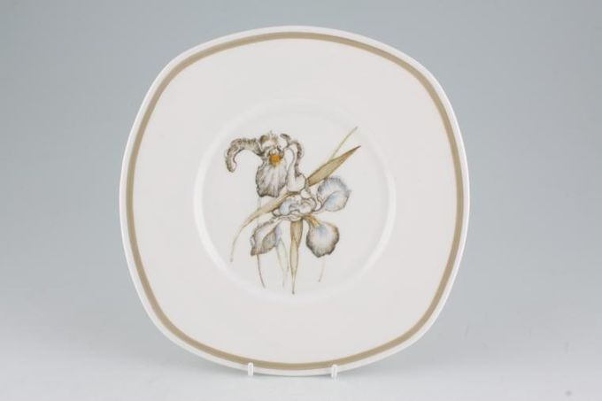 Susie Cooper Iris - Light Brown Rim - C2087 Cake Plate Square 9""