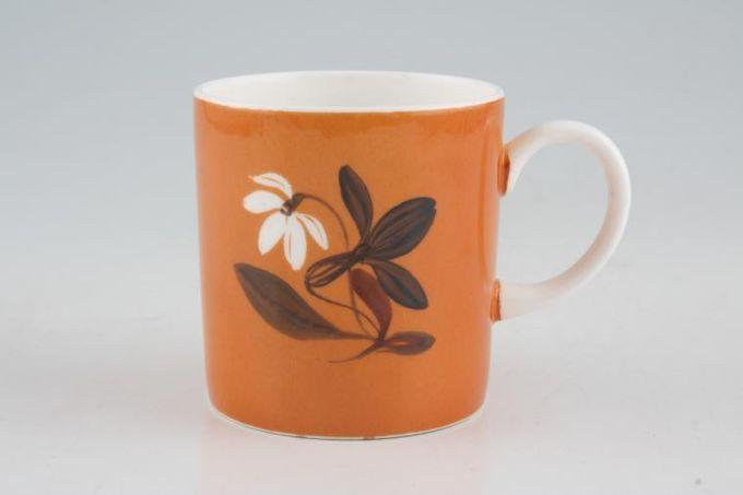 "Susie Cooper Flower Motif Coffee/Espresso Can Cantaloupe - FM1, Black Urn B/S 2 1/2 x 2 5/8"""