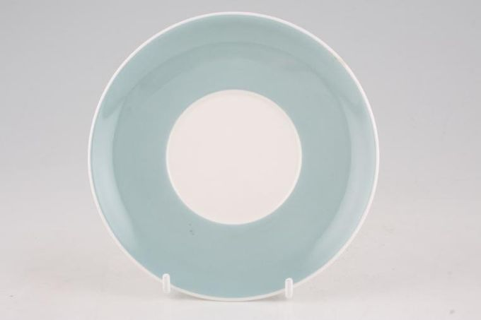 Susie Cooper Flower Motif Coffee Saucer Grey Blue - Signed B/S 5 1/2""