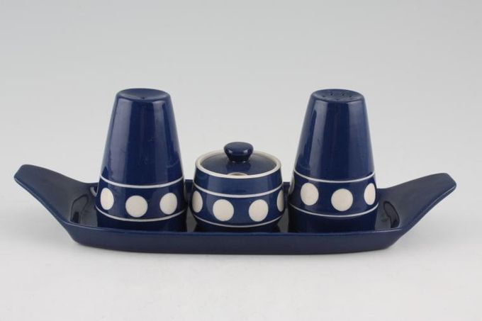T G Green Jersey Blue Cruet Set Mustard, Salt, Pepper Pot With Stand
