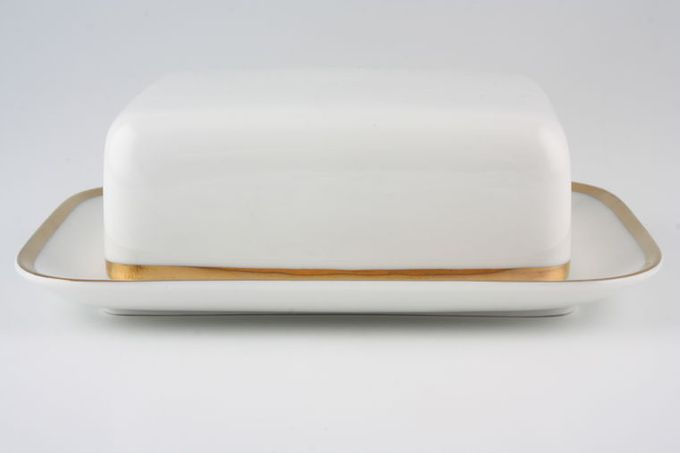 Thomas Medaillon Gold Band - White with Thick Gold Line Butter Dish + Lid