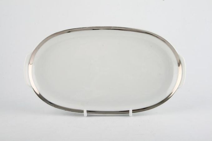 Thomas Medaillon Platinum Band - White with Thick Silver Line Pickle Dish Shallow, eared 7 3/4""