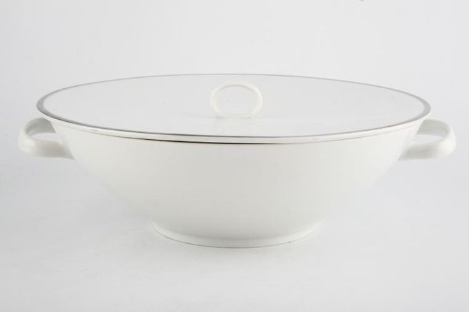 Thomas Medaillon Platinum Band - White with Thick Silver Line Vegetable Tureen with Lid Sloping sides - loop handles