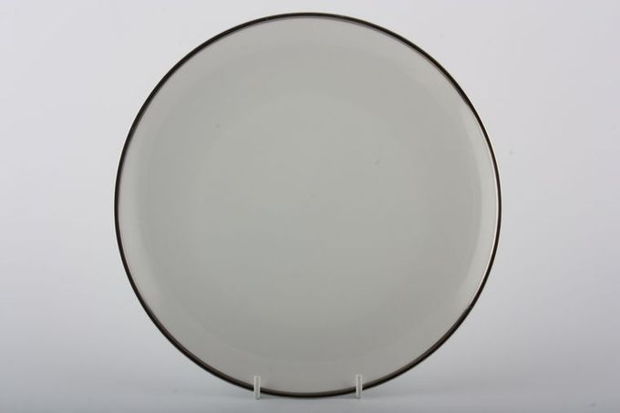 Thomas Medaillon Platinum Band - White with Thick Silver Line Dinner Plate 10 3/8""