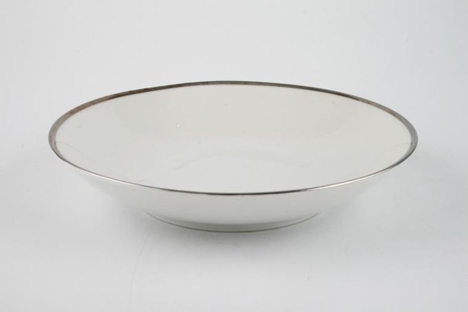Thomas Medaillon Platinum Band - White with Thick Silver Line Oatmeal / Cereal / Soup 7 1/2""