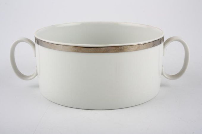 Thomas Medaillon Platinum Band - White with Thick Silver Line Soup Cup 2 handles