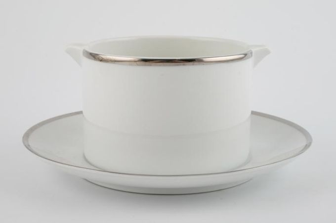 Thomas Medaillon Platinum Band - White with Thick Silver Line Sauce Boat and Stand Fixed
