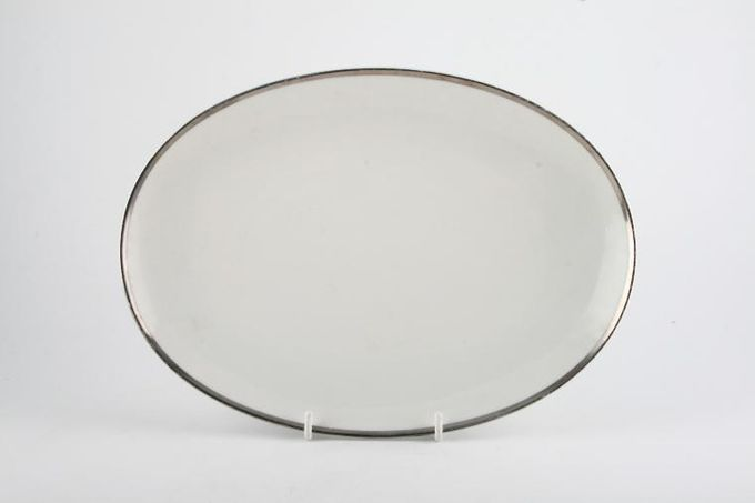 Thomas Medaillon Platinum Band - White with Thick Silver Line Oval Plate / Platter 11 1/8""