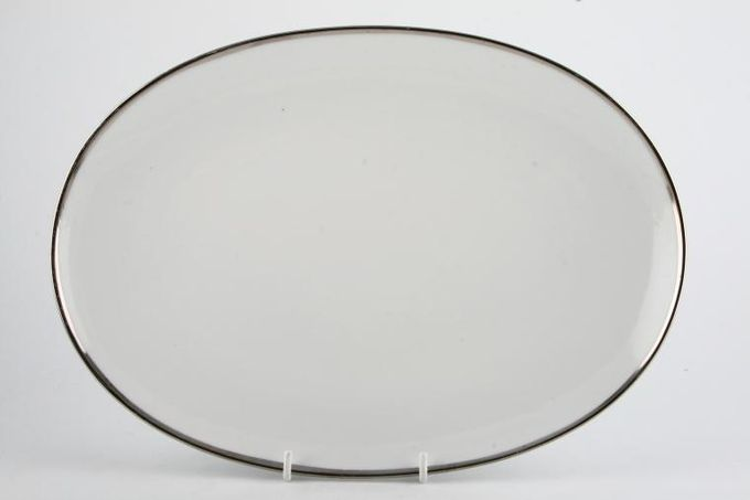 Thomas Medaillon Platinum Band - White with Thick Silver Line Oval Plate / Platter 13""