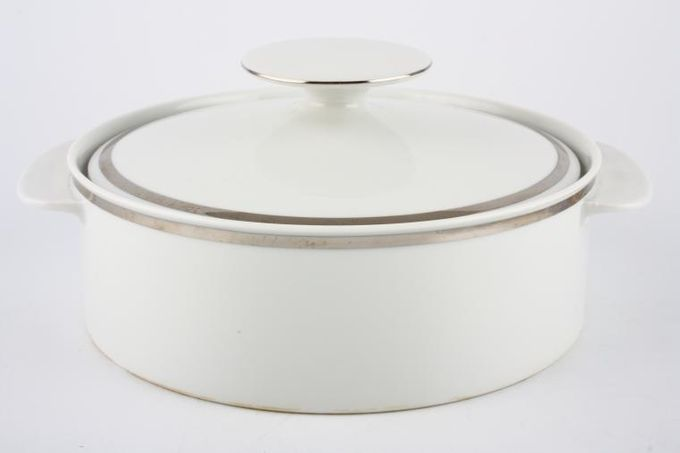 Thomas Medaillon Platinum Band - White with Thick Silver Line Vegetable Tureen with Lid Straight sided - lugged