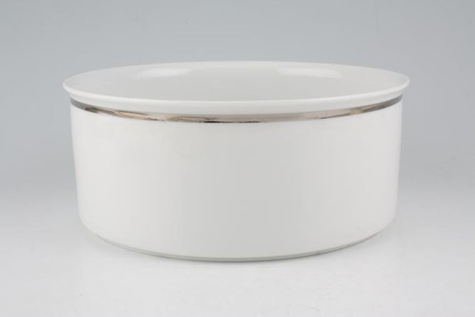 Thomas Medaillon Platinum Band - White with Thick Silver Line Serving Bowl 7 1/2""