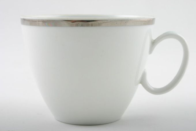 """Thomas Medaillon Platinum Band - White with Thick Silver Line Teacup Sloping sides 3 1/2 x 2 3/4"""""""
